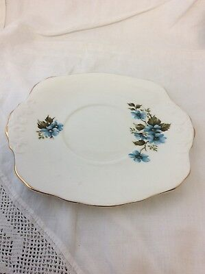Royal Sutherland Bone China Cake Plate Blue Flower Design