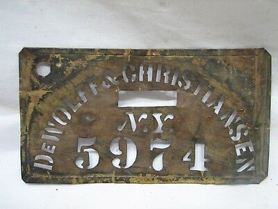 Antique Brass Storekeeper Barrel Stencil DeWolff & Christiansen NY Tool Crate