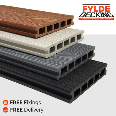 3.6m Composite WPC Decking Boards - Deep Embossed Woodgrain Plastic Boards