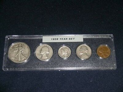 1938 Vintage Circulated Year Set - Nice 5-Coin Set