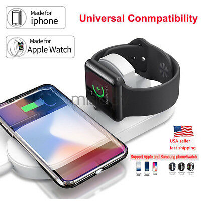 2in1 Qi Wireless Charger Fast Charging Pad For Apple Watch iWatch iPhone X 8/8P
