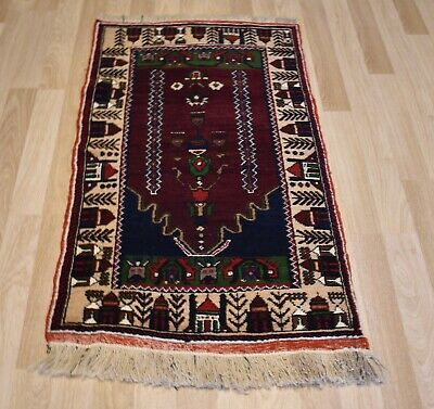 1960's Antique Turkish Handmade Rug Village Scene Border- Free Express Shipping