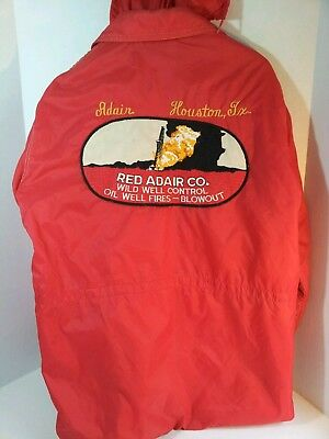 VTG 70s WEST WIND RED ADAIR Co JACKET LARGE WILD WELL CONTROL OIL FIRES BLOWOUT