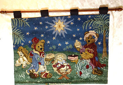 Boyds Bears & Friends Tapestry Christmas Nativity Wall Hanging on Wood Rod