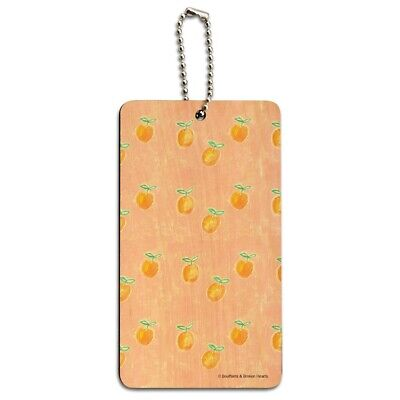 Painterly Citrus Oranges Pattern Wood Luggage Card Suitcase Carry-On ID Tag