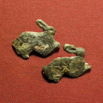 Roman enamelled hare formed brooches