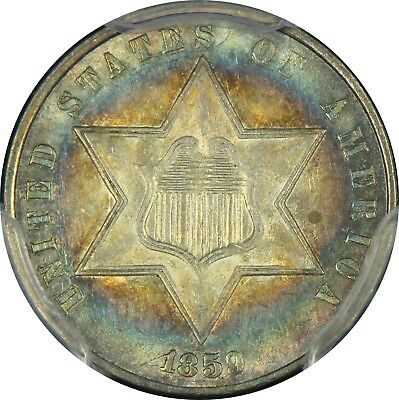 TARGET TONED CAC PCGS MS63 1859 THREE CENT SILVER TRIME 3c   (BC85)