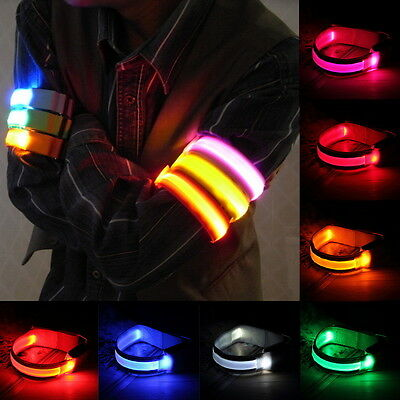 Sports Bike LED Safety Reflective Belt Strap Snap Wrap Arm Band Shine Armband FK