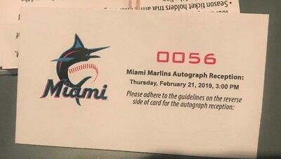 Marlins autograph session ticket Roger Dean Stadium 2/21/19 low numbers