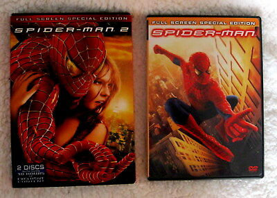 Spider-Man 1& 2 DVD 2 Disc Full Screen Special Editions Mint Condition