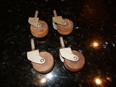Set of 4 Vintage Wood Furniture Wheels Rollers Casters Dresser Cabinet Table