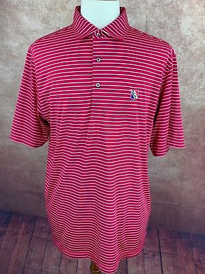 Donald Ross Golf Polo Shirt Red Raspberry & White Stripe Embroidered Men's Large