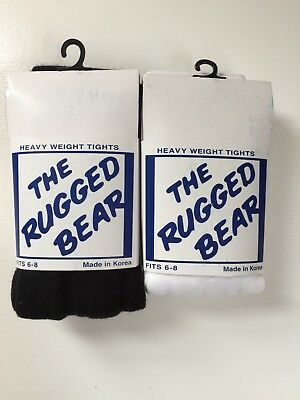 Girls Rugged Bear Tights, Bundle/Mixed lot, Black, White, Size 6-8 years old