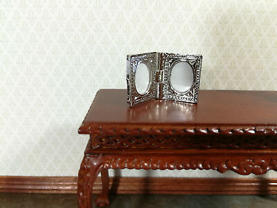 Dollhouse Miniature Fancy Silver Double Photo Picture Frame 1:12 Scale