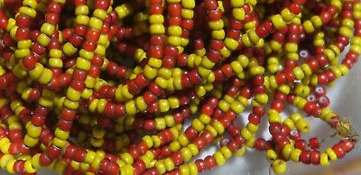 Antike Glasperlen Ponybeads - Antique Yellow & Red White Hearts Glass Poundbeads