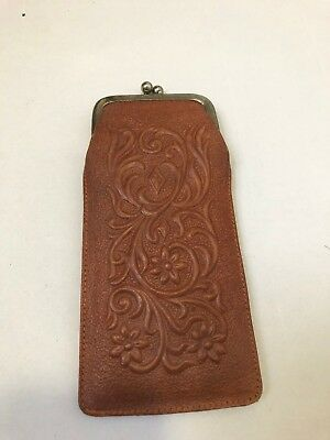 Vintage Leather Coin Purse W/ Floral Tooling & Kiss Lock