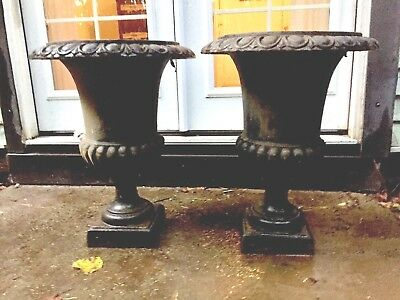 Set of Two Black Cast Iron Vintage Urn Planters LOCAL PICKUP ONLY!