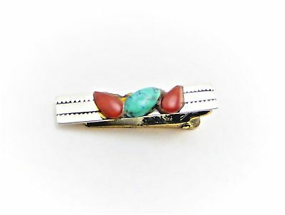 Vintage Sterling Silver Coral & Blue Turquoise Tie Tack