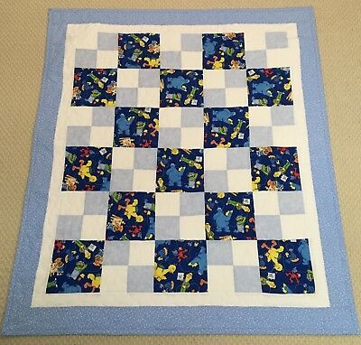 New Handcrafted Multicolor Sesame Street 4-Patch Baby Quilt