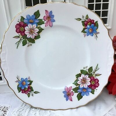 ROYAL VALE 1950s CAKE PLATE - PINK BLUE FLORAL CLEMATIS - GILDED BONE CHINA
