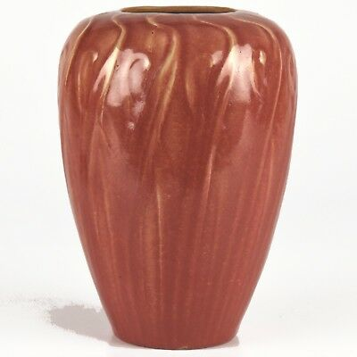 """Rare Selden Bybee 6"""" Curdled Maroon-Red w/Tan Cattail Reeds Design Vase c1927"""