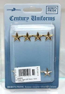 """Heros Pride 4493G Collar Brass Rank Insignia - Pair Of 4 Star 5/8"""" Polished Gold"""