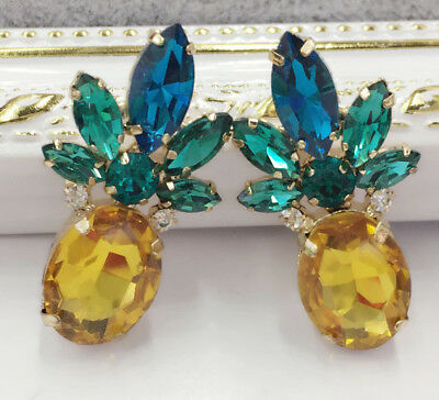 Hot Crystal Ear Drop Dangle Stud Ancient Gold long Tassels Pineapple Earrings
