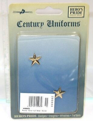 """Heros Pride 4485G Collar Brass Rank Insignia - Pair Of 1 Star 1/2"""" Polished Gold"""
