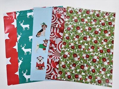 100 10x13 Christmas Pups Stars Candy Deer Mailers Poly Shipping Envelopes Bags