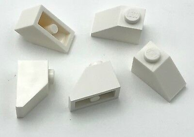 Lego 5 New White Slopes Sloped 45 2 x 1 Triple with Bottom Stud Holder Pieces