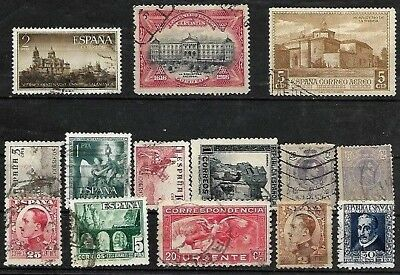 """""""l@@k"""" .spain. Lot Of 14 Old Postally Used Spanish Stamps. Good Lot.."""
