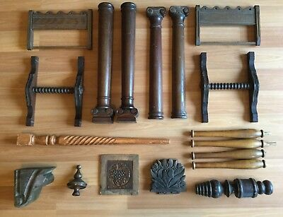 Old Vtg Antique Wood Architectural Furniture Decorative Part Salvage Lot Of 18