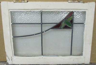 "OLD ENGLISH LEADED STAINED GLASS WINDOW Abstract Leafy Sweep 21"" x 15.25"""