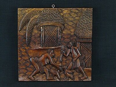 Vintage African Hand Carved Wood Panel Tribal Village Scene Feeding Chickens