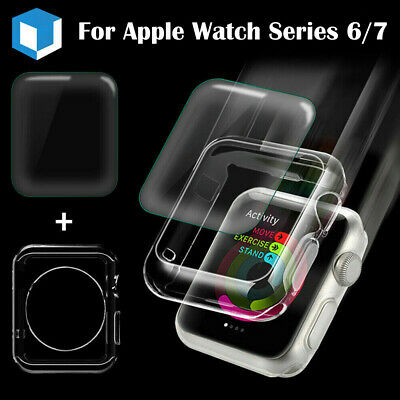 2IN1 For Apple Watch Series 4 Full Cover Screen Protector+Silicone Case 40/ 44mm