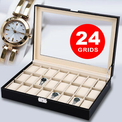 Leather Watch Jewelry Display Storage Holder Case 24 Grids Box Organizer Gift AU