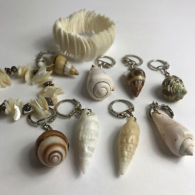 Lot 10-Pieces Fossil Of Real Natural Sea Shell Clam Shell Keychain Bracelets