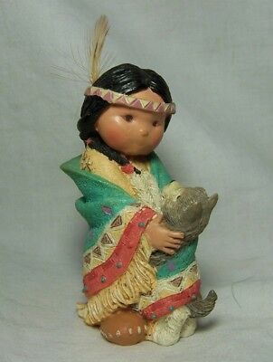 1994 Enesco Friends Feather DANCES WITH WOLF Pup Native American Indian Child