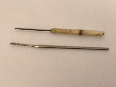 "Two Vintage Crochet Tatting Hooks 4 1/2"" w wooden handle and 5"" All Metal"
