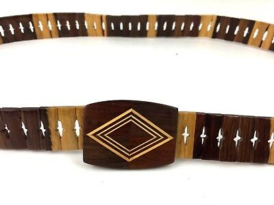 """Vintage Hand Crafted Wooden Belt Inlaid Wood Buckle Adjustable up to 40"""""""