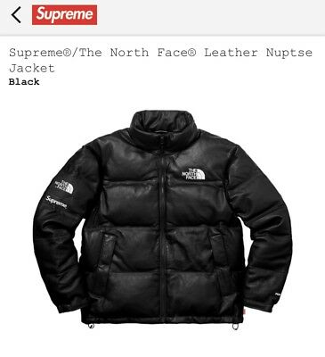 faf9cebd25 SUPREME X THE North Face TNF Leather Nuptse Black Size L DS FW17 ...