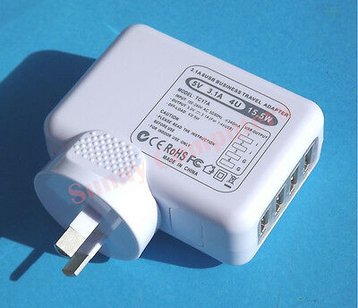 4 USB Ports Wall Charger for iPhone iPad iPod All Series With AU EU US UK Plugs