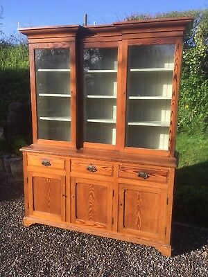 Antique Pitch Pine Breakfront Glazed Dresser / Bookcase Sn-786