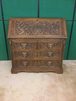 Antique Highly Carved Oak Bureau With Lion Head Handles Sn-794