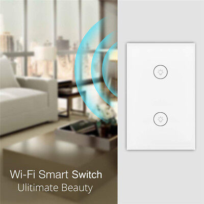 2 Gang Smart Touch Light Switch WiFi RF APP Remote Control For Google Home Alexa