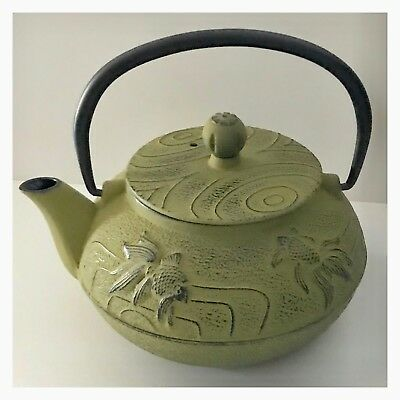 Cast Iron Green Lucky Fish Teapot 800ml Antique - Tea - Chinese Japanese Vintage