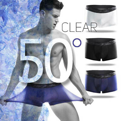 Sexy Mens Ice Silk Quick Dry Boxer Briefs Shorts Trunks Underwear Breathable