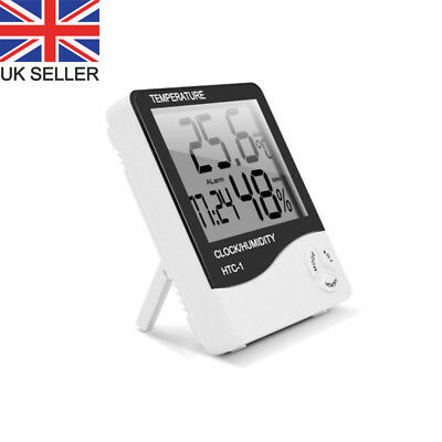 Digital Indoor Temperature And Humidity Meter Alarm Clock LCD Monitor White