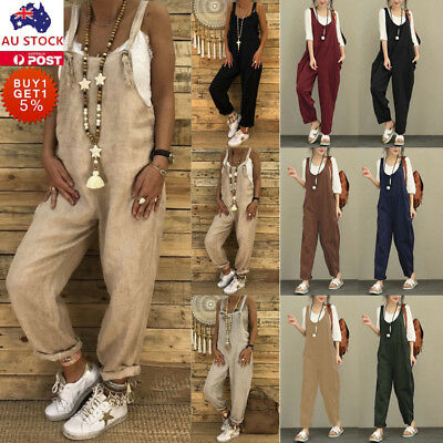 Women Cotton Dungaree Baggy Pants Casual Ladies Overalls Loose Jumpsuit Romper