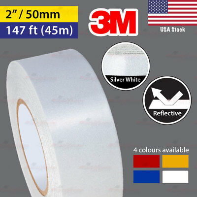"""3M SILVER WHITE 2"""" 147ft 50mm 45m REFLECTIVE Conspicuity Tape Car Decal Sticker"""